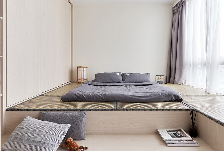 squarerooms happe design atelier japandi home renovation makeover storage space platform living room bedroom floor tatami futon bedding