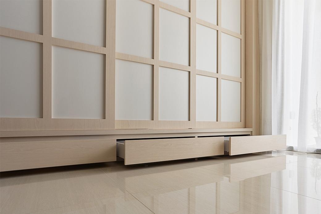 squarerooms happe design atelier japandi home renovation makeover sliding shoji door wood paper drawers storage space