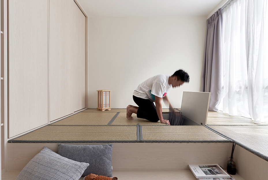 squarerooms happe design atelier japandi home renovation makeover storage space platform living room bedroom floor tatami