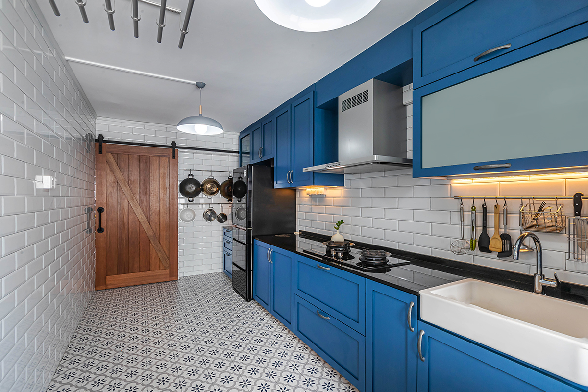 squarerooms renozone home renovation interior design makeover 4 room hdb bto flat eclectic retro vintage style jurong west blue kitchen cabinets pattern floor tiles