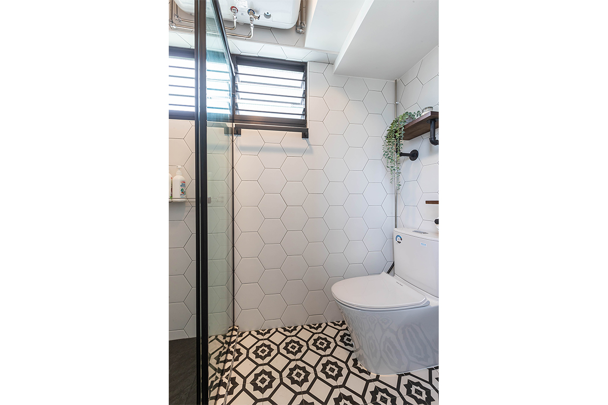 squarerooms renozone home renovation interior design makeover 4 room hdb bto flat eclectic retro vintage style jurong west monochromatic white black toilet bathroom tiles
