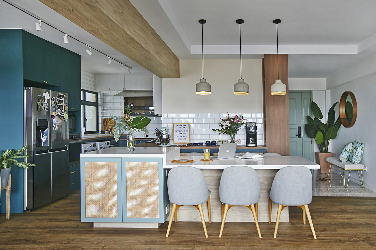 squarerooms fuse concept home renovation interior design makeover 5 room resale hdb flat ang mo kio eclectic kitchen dining room open space concept wooden beam ceiling rattan cabinet blue