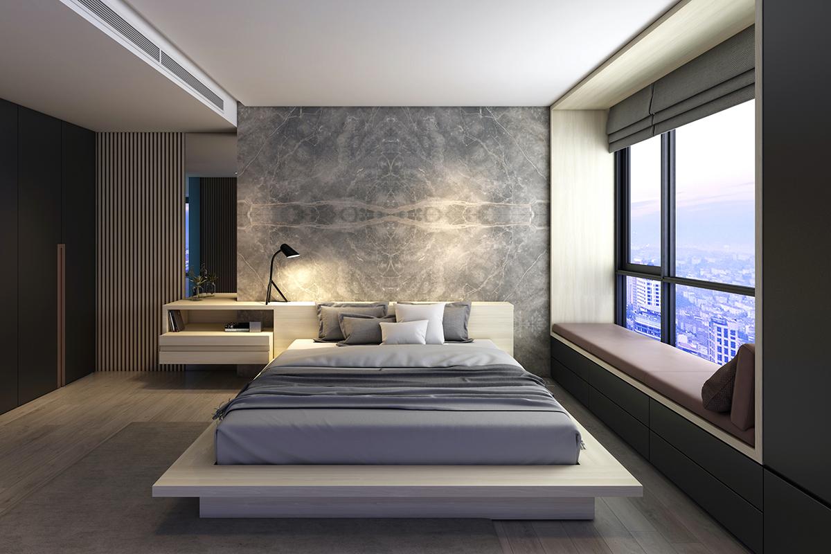 squarerooms lamitak laminates bookmatched Montignoso marble look bedroom grey monochromatic modern