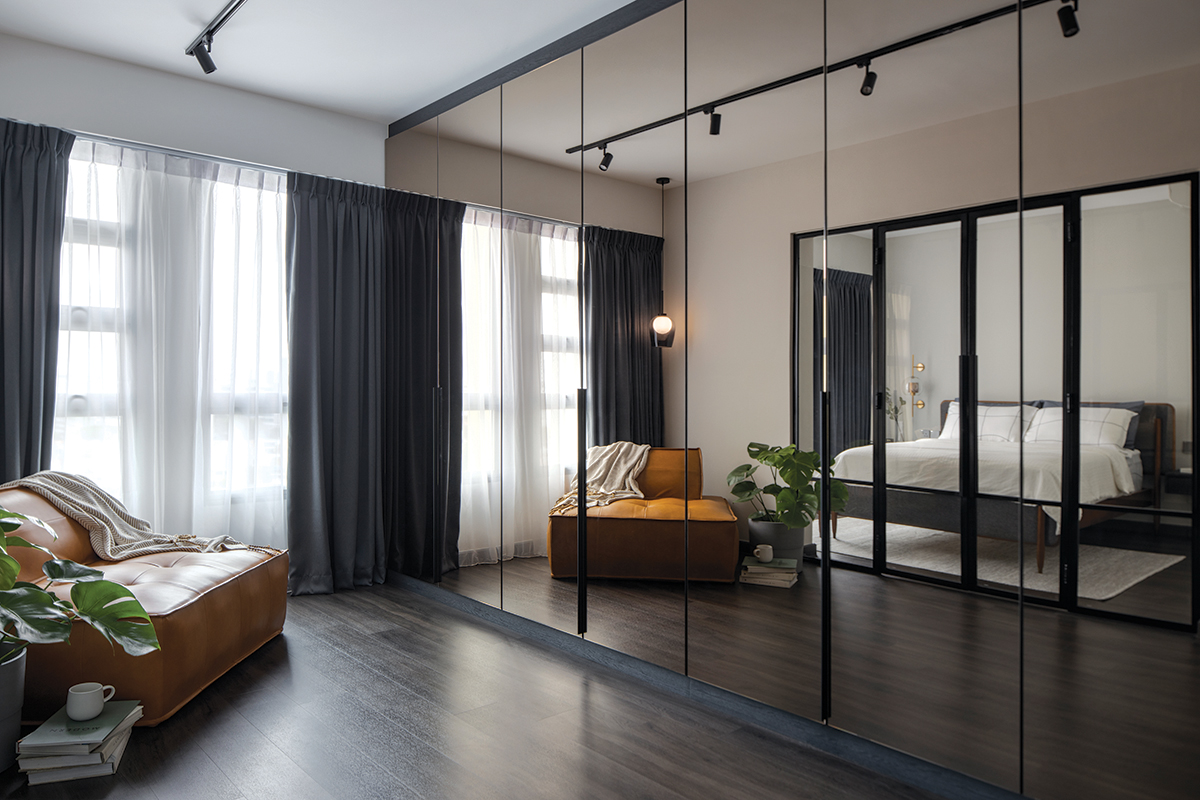 squarerooms authors in style home renovation 4 room hdb bto flat contemporary style look makeover living room open space concept glass door mirror