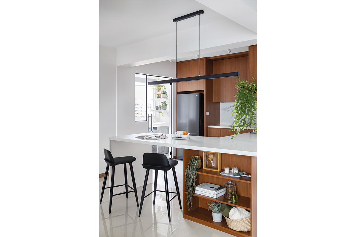squarerooms authors in style home renovation 4 room hdb bto flat contemporary style look makeover kitchen scandinavian cherry wood cabinets laminates white island plants