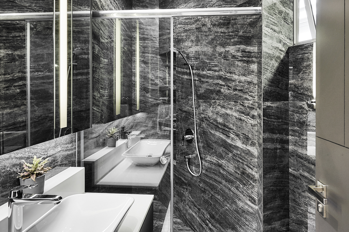 squarerooms richfield integrated interior design home makeover style look renovation landed property house large big luxury luxurious monochromatic black and white modern bathroom marble grey