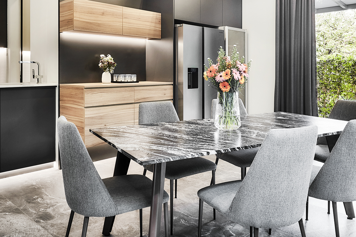 squarerooms richfield integrated interior design home makeover style look renovation landed property house large big luxury luxurious monochromatic black and white modern dining kitchen table marble