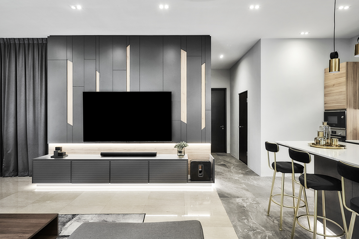 squarerooms richfield integrated interior design home makeover style look renovation landed property house large big luxury luxurious monochromatic black and white modern living room tv feature wall