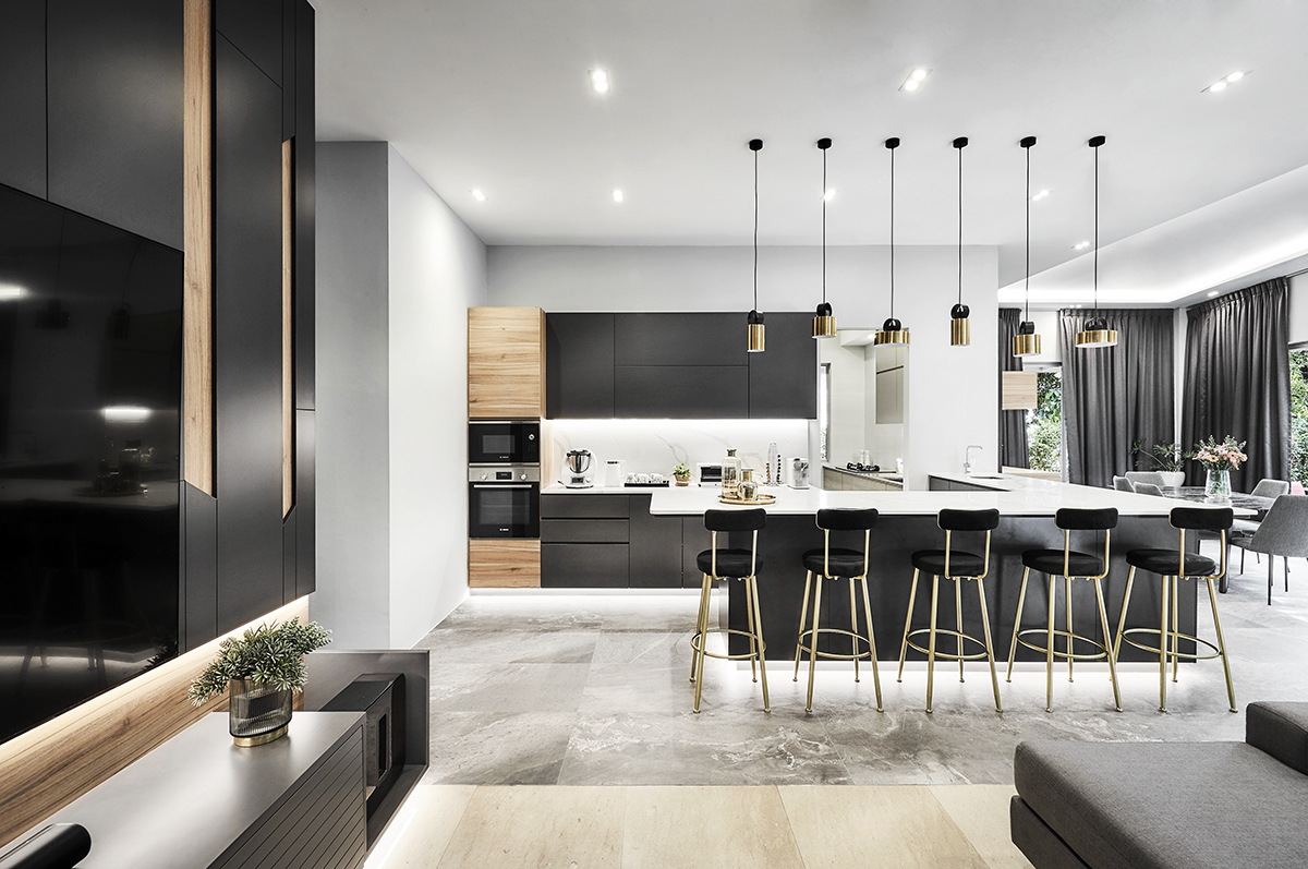 squarerooms richfield integrated interior design home makeover style look renovation landed property house large big luxury luxurious monochromatic black and white modern dining bar counter kitchen open space stools