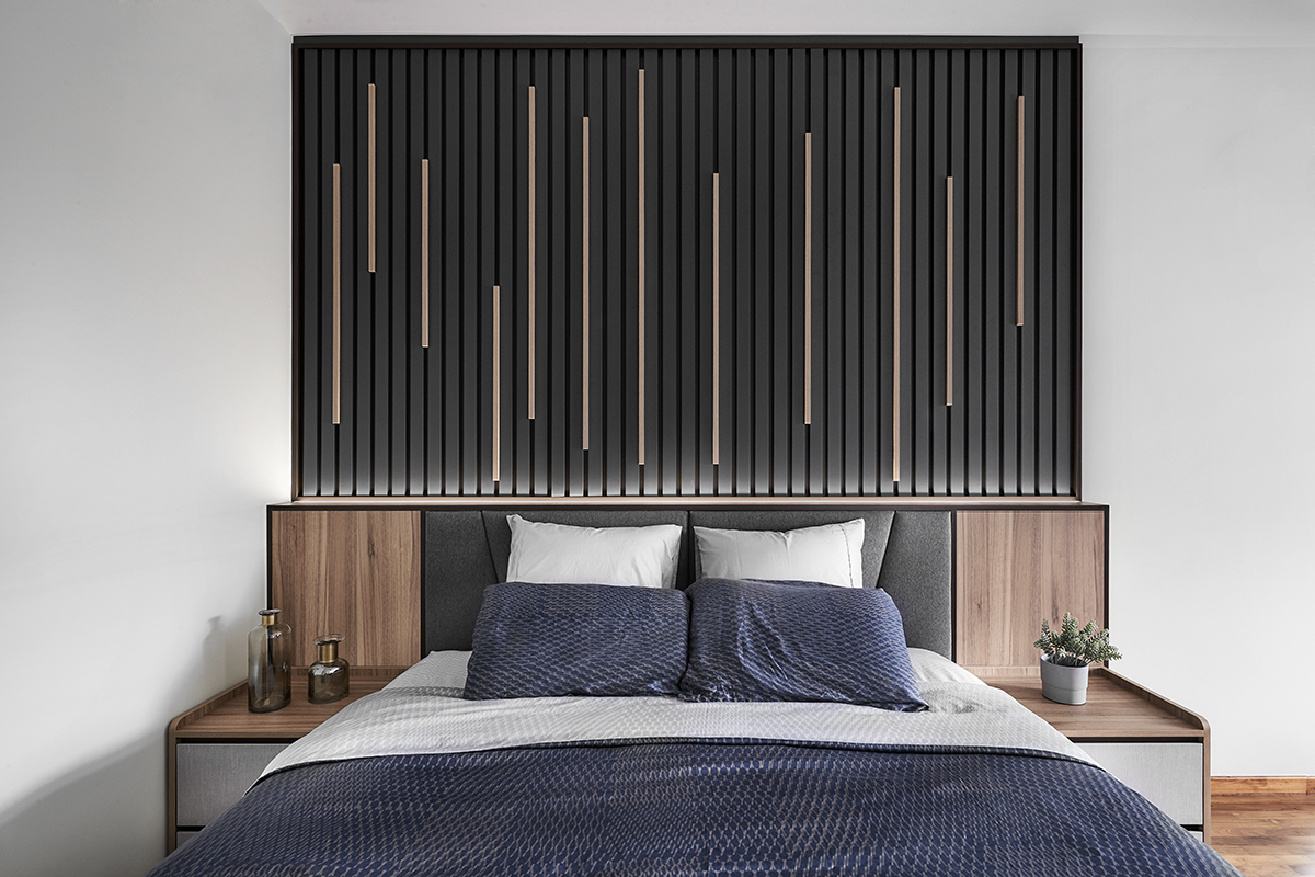 squarerooms richfield integrated home design renovation style look makeover landed semi-detached house property modern luxury luxurious monochromatic minimalist bedroom dark black headboard feature wall fluted lines blue bedding sheets