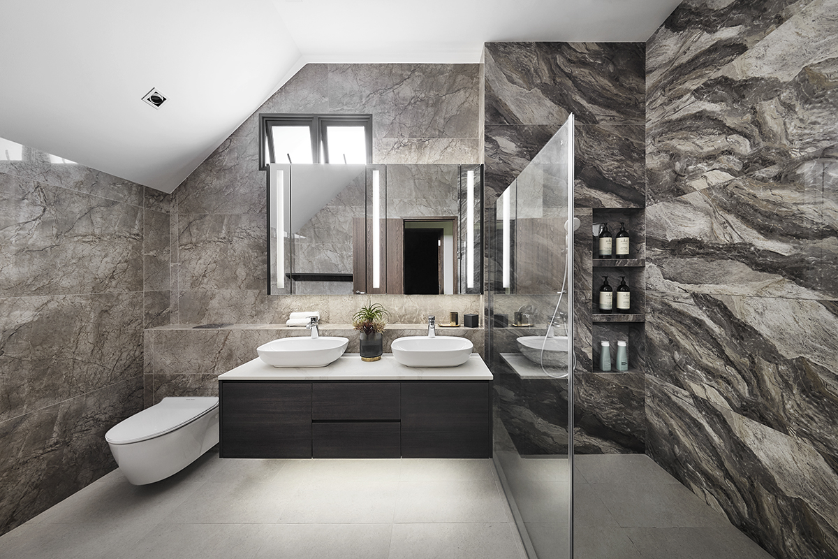 squarerooms richfield integrated home design renovation style look makeover landed semi-detached house property modern luxury luxurious monochromatic minimalist bathroom grey white large sinks washbasins