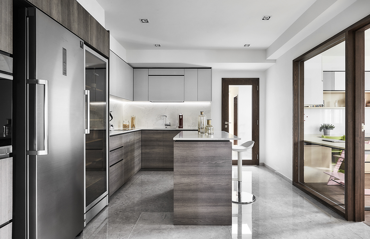 squarerooms richfield integrated home design renovation style look makeover landed semi-detached house property modern luxury luxurious monochromatic minimalist kitchen grey island glossy floor tiles