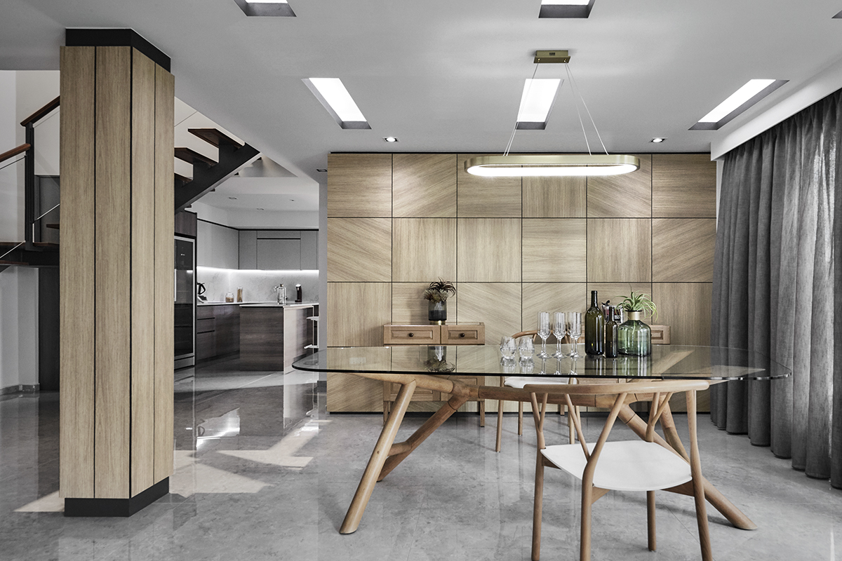 squarerooms richfield integrated home design renovation style look makeover landed semi-detached house property modern luxury luxurious monochromatic minimalist dining room area wood