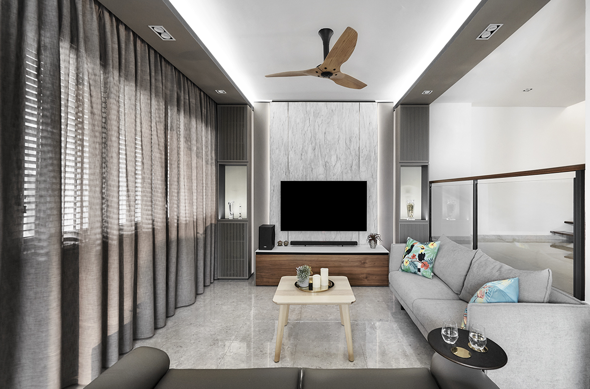 squarerooms richfield integrated home design renovation style look makeover landed semi-detached house property modern luxury luxurious monochromatic minimalist living room tv feature white grey