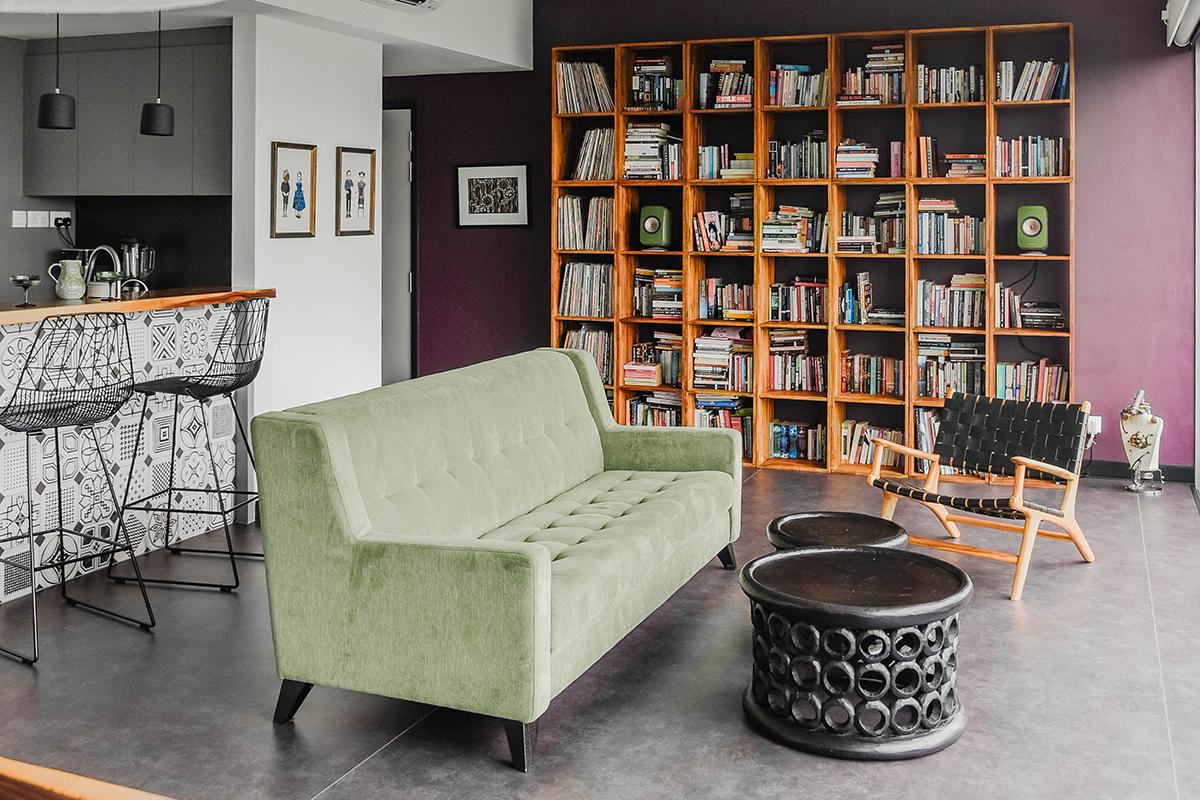 squarerooms Make Room singapore living area green couch sofa bookshelf storage grey