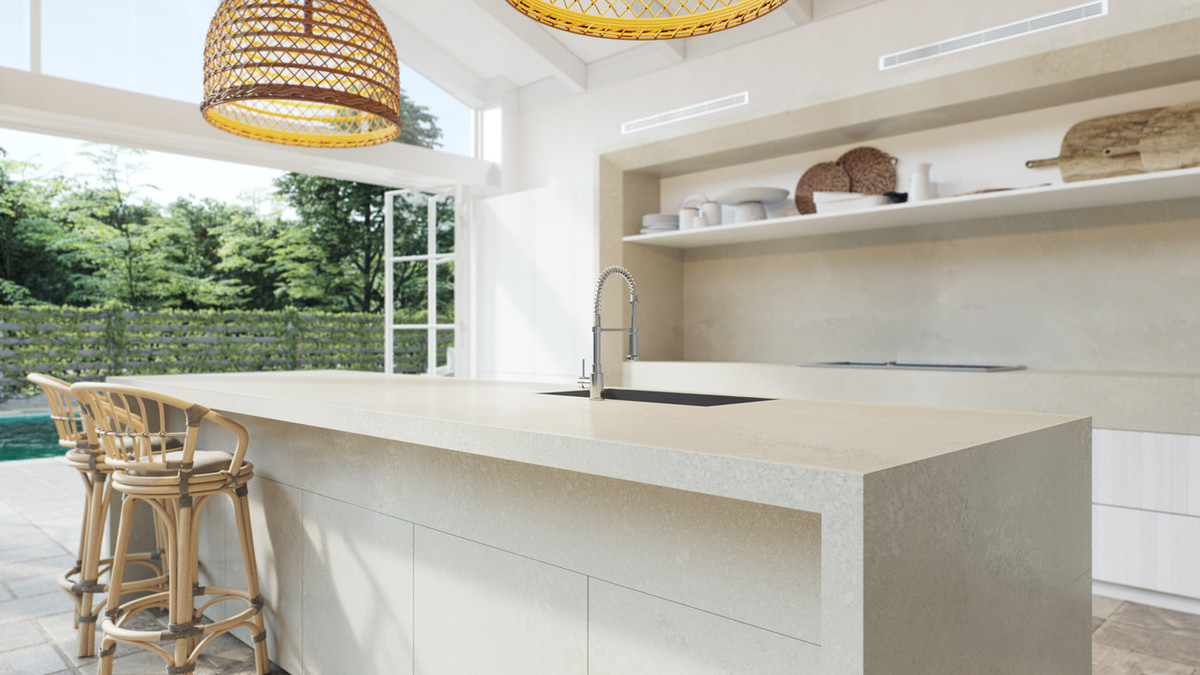 squarerooms caesarstone whitelight collection engineered quartz surfaces kitchen countertop white cream bright contemporary adamina rattan lamps island close up