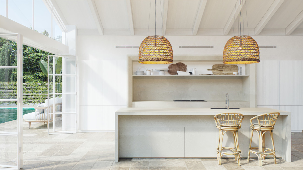 squarerooms caesarstone whitelight collection engineered quartz surfaces kitchen countertop white cream bright contemporary adamina rattan lamps