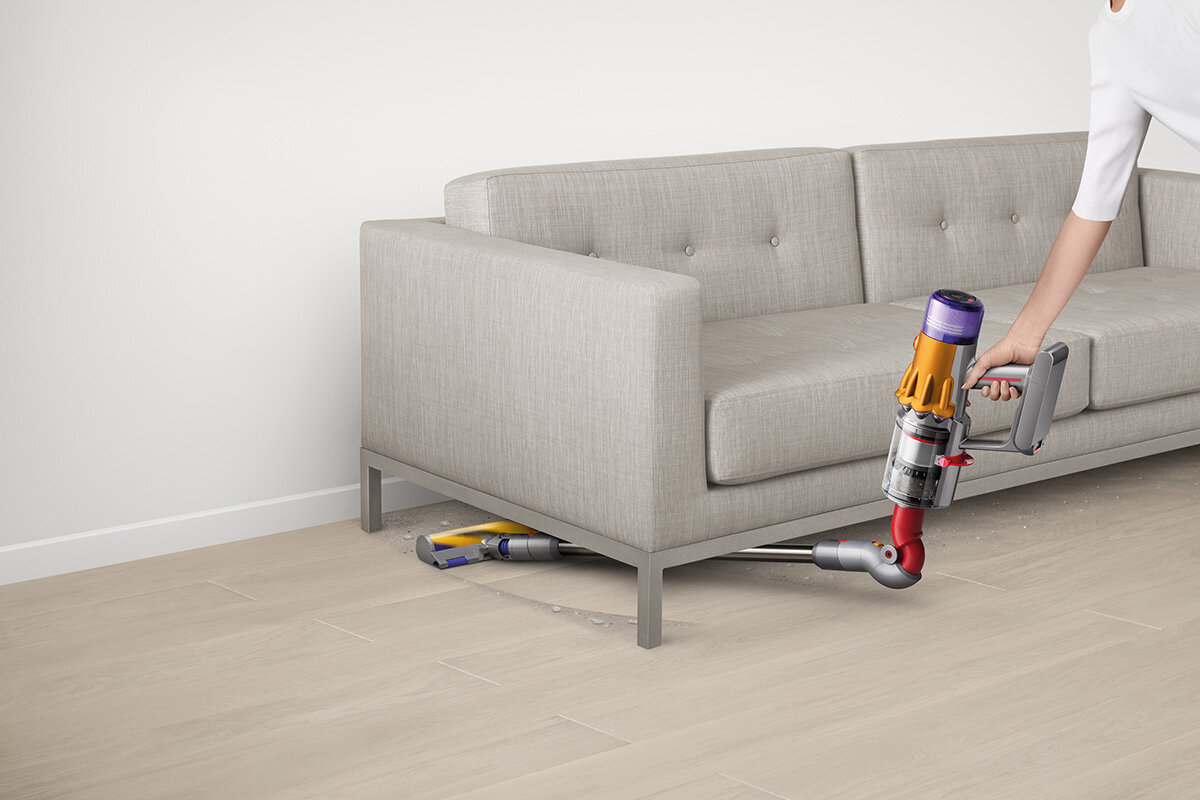 squarerooms dyson v12 detect slim total clean vacuum new launch release appliance cleaning device sofa bend down flexible manoeuvre fold under sofa