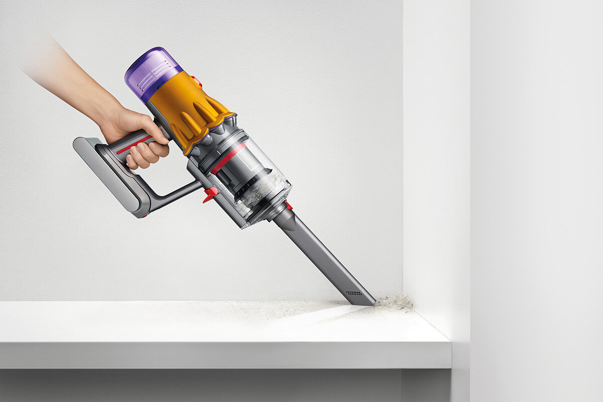 squarerooms dyson v12 detect slim total clean vacuum new launch release appliance cleaning device light pipe narrow small nooks corner attachment cleaning head