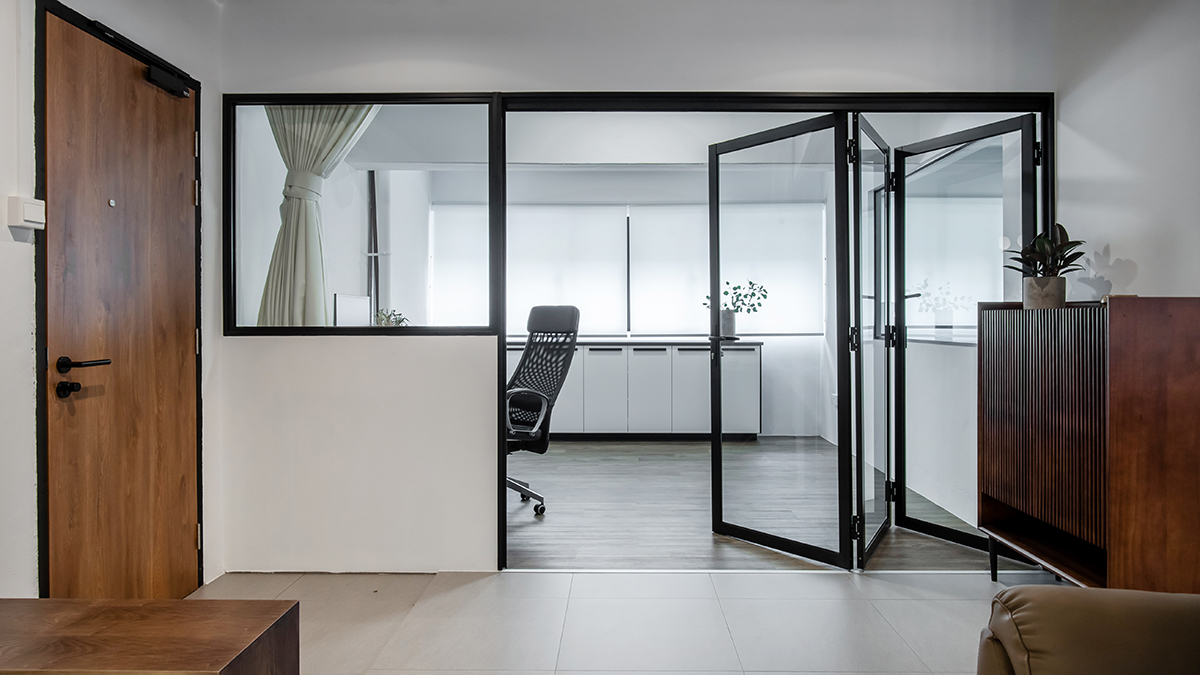 squarerooms inizio atelier interior design home renovation makeover hdb 5 room resale flat industrial contemporary monochromatic sleek open space clear folding glass door office study