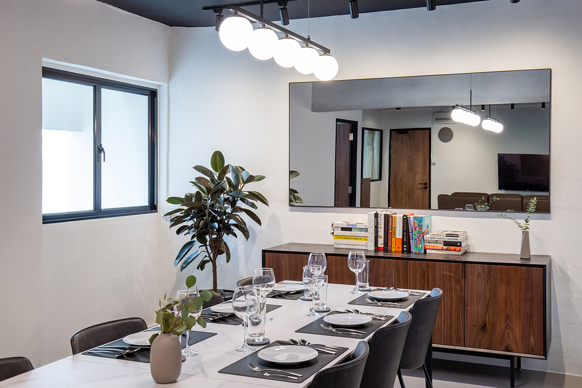 squarerooms inizio atelier interior design home renovation makeover hdb 5 room resale flat industrial contemporary monochromatic sleek dining room area mirror table