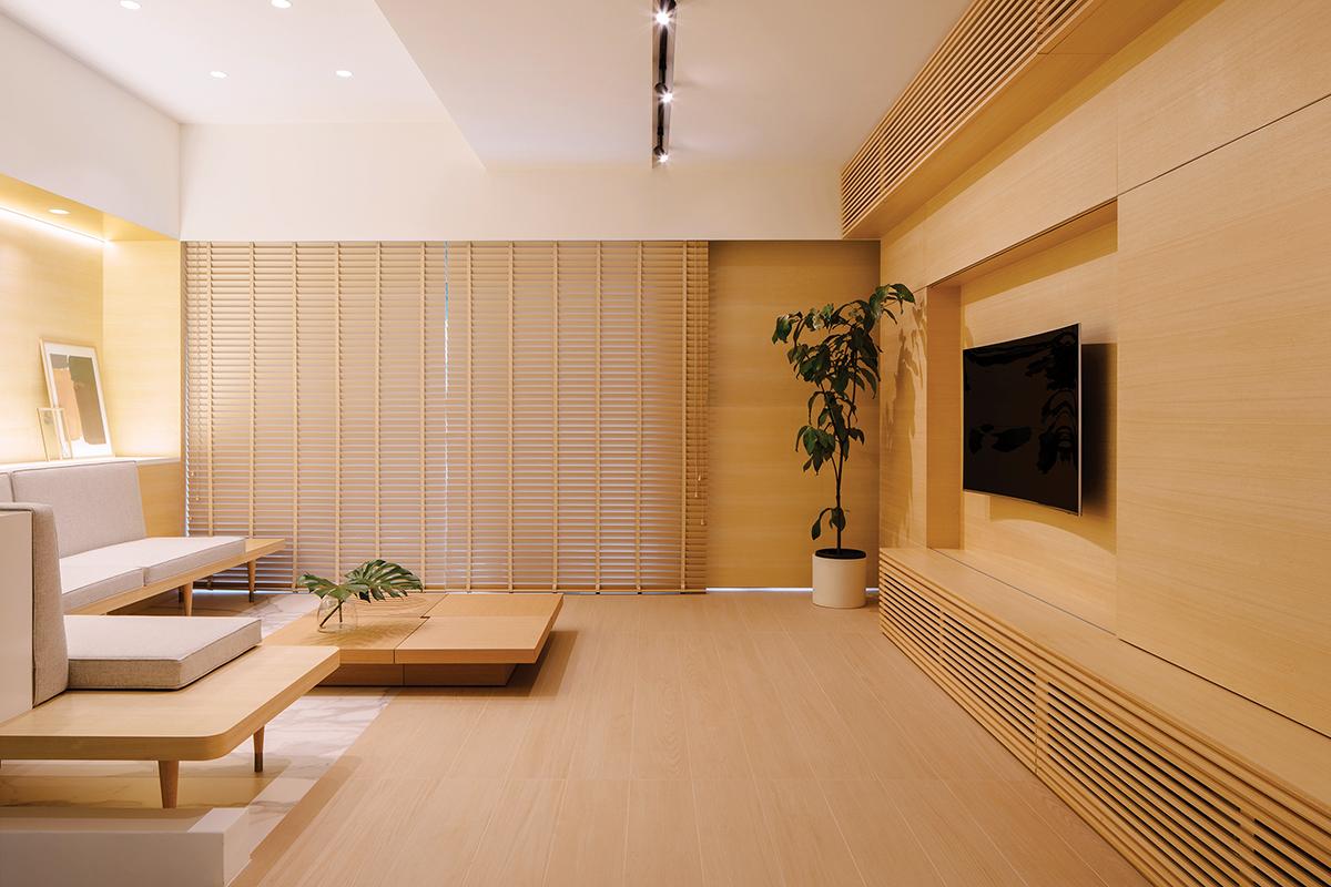 squarerooms Monocot Studio living room area wood orange low lying furnishings japandi japanese home interior style