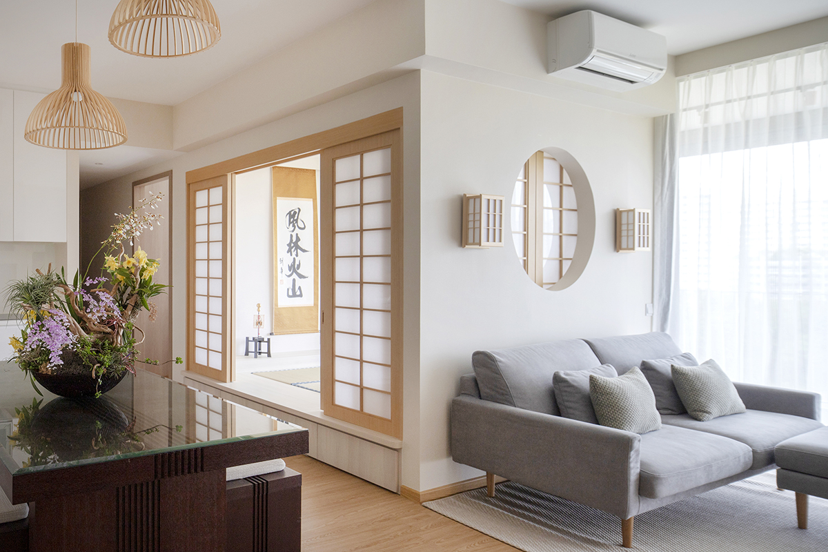 squarerooms sync interior living room japanese japandi style look renovation home interior shoji paper doors grey couch sofa rattan lamps