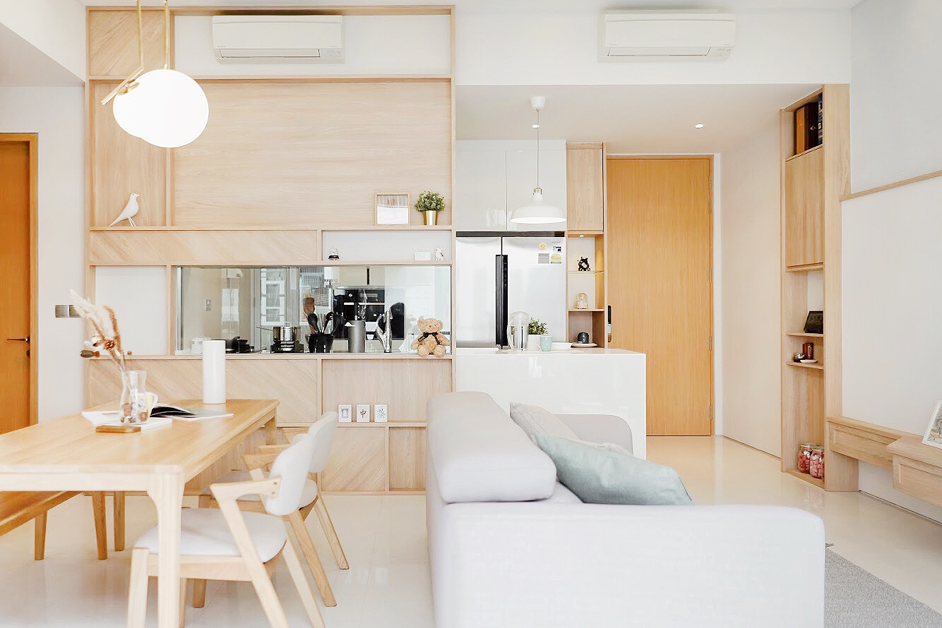 squarerooms authors interior and styling japandi scandinavian japanese living room open concept dining kitchen space light wood