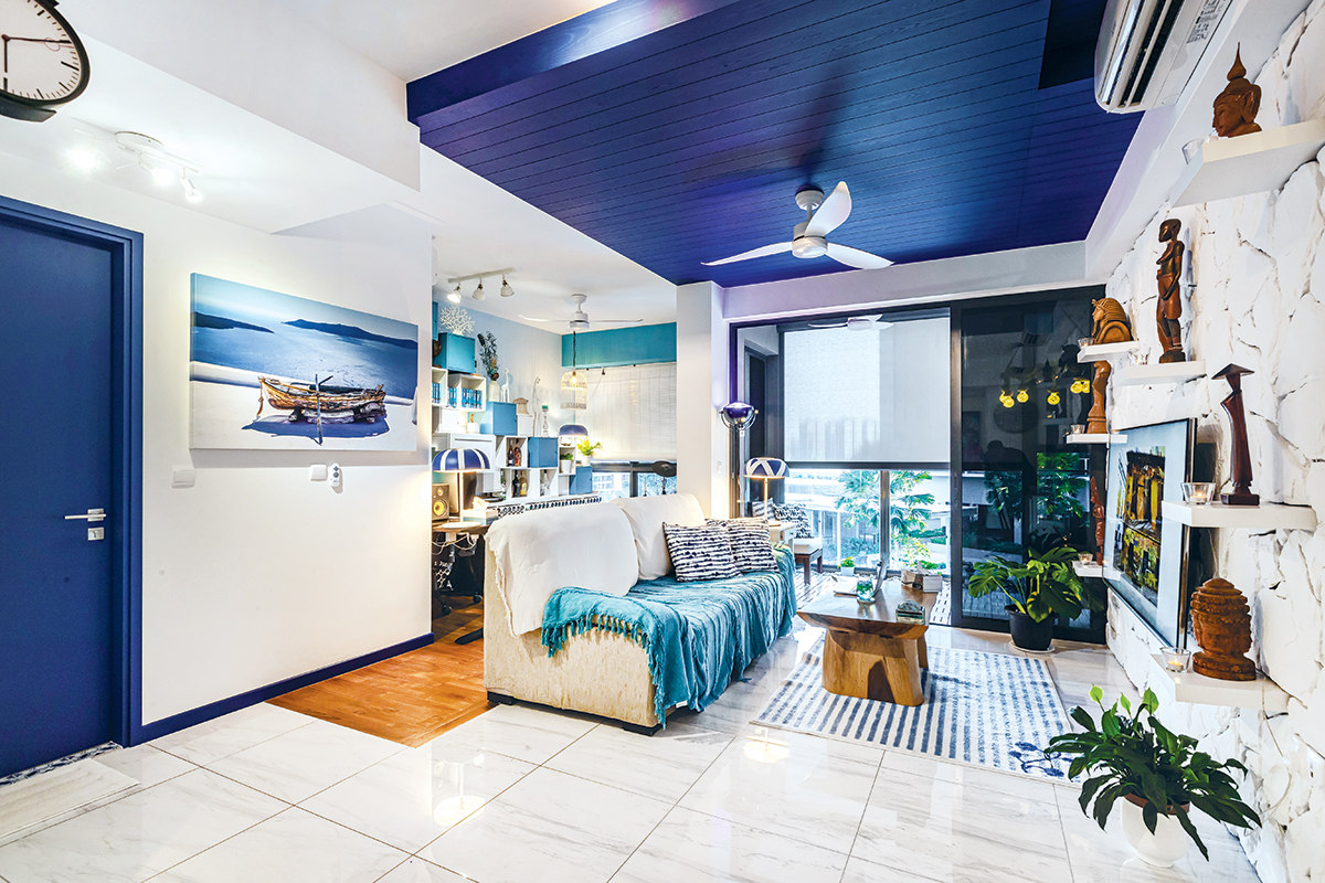 squarerooms renozone blue mediterranean greek greece santorini inspired condo flat singapore renovation makeover interior design bold colourful white potong pasir living room overall view feature wall ceiling fan