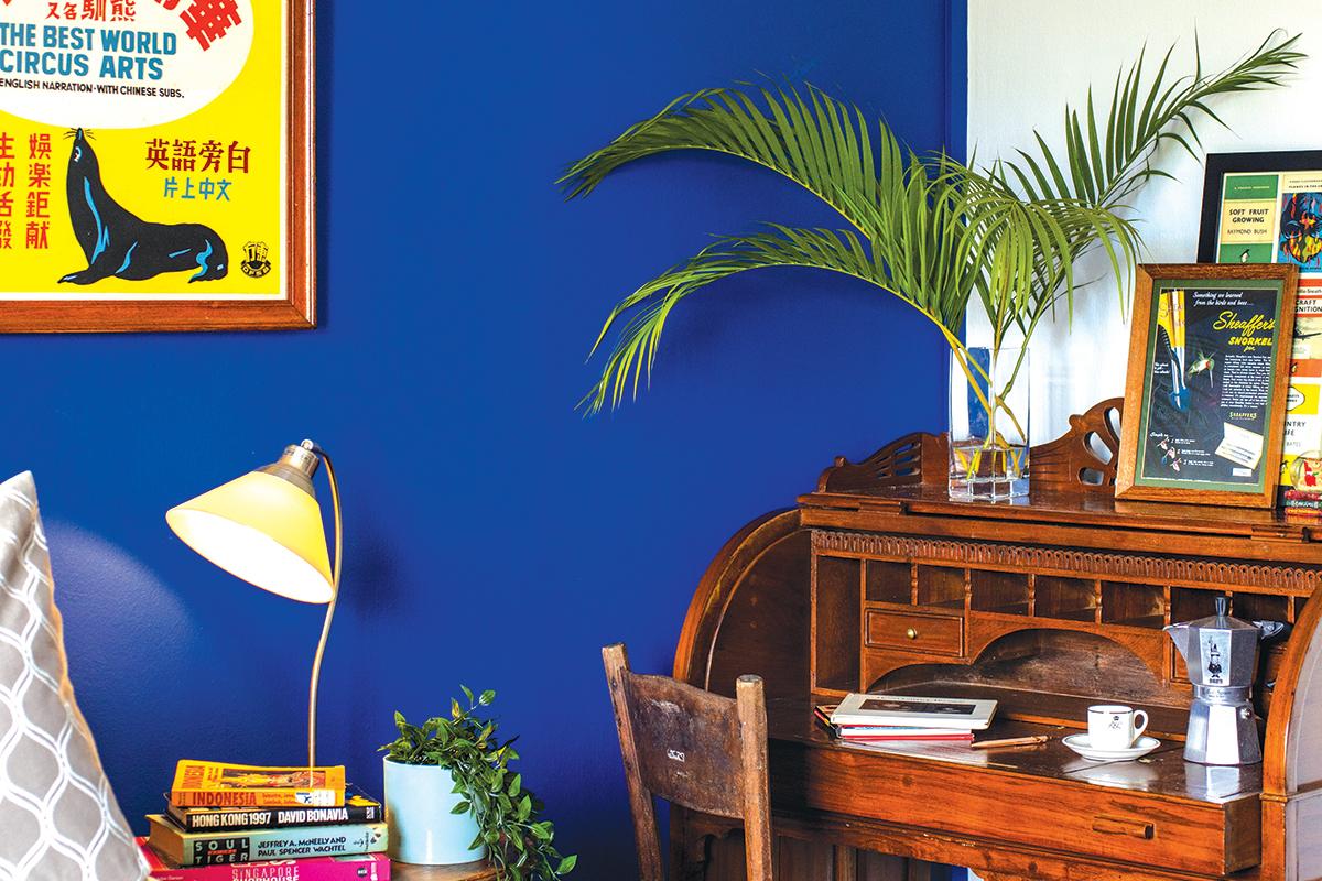 squarerooms d'marvel scale home renovation interior design makeover 3 room walk up apartment blue wall office desk wood antique