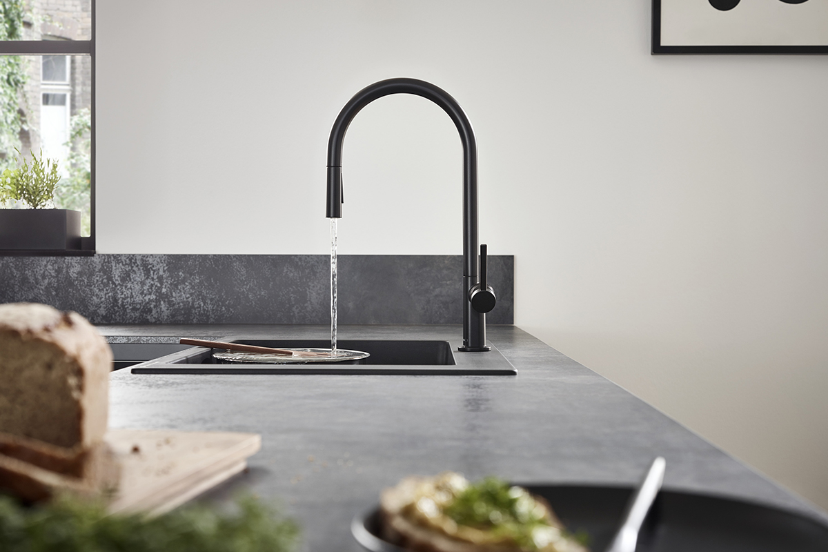 squarerooms hansgrohe talis m54 faucet tap kitchen sink mixer grey countertop surface water flow black