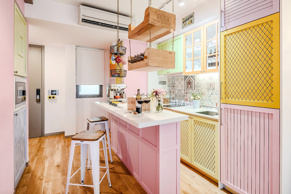 squarerooms WEIKEN.com interior kitchen pastel pink yellow bright colourful bold design candy yummy delicious