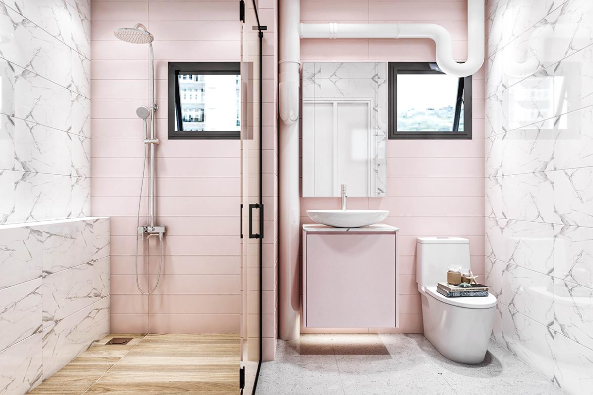 squarerooms weiken.com bathroom pink white marble walls pastel hues cosy feminine cute