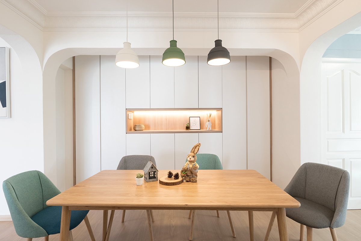 squarerooms Starry Homestead pastel blue grey green chairs dining room wood table minimalist cosy scandi modern home
