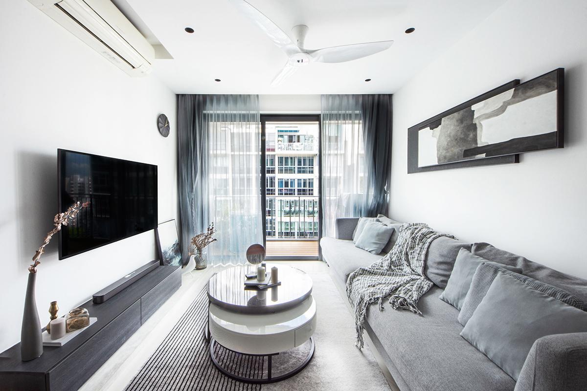 squarerooms distinctidentity home interior design renovation makeover contemporary dual key condominium apartment flat singapore living room grey white black monochromatic