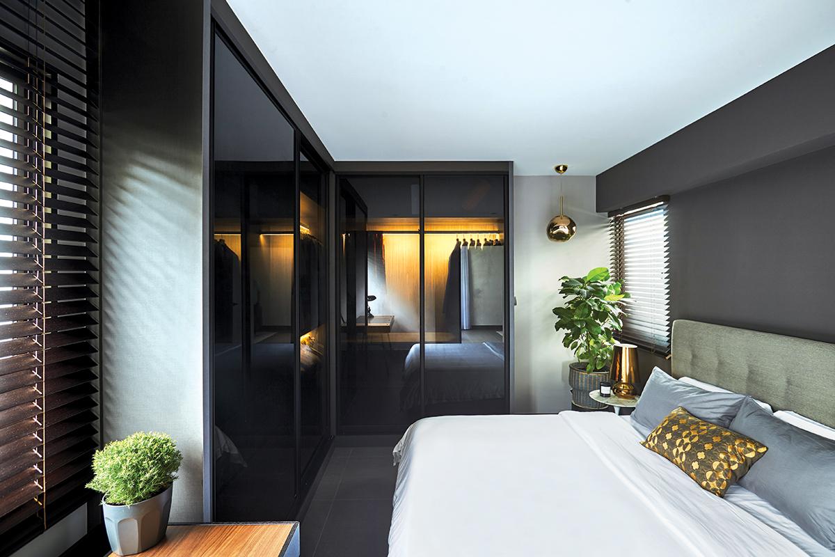 squarerooms bowerman interior planner design home renovation makeover 5 room resale hdb flat contemporary look black white modern bedroom yellow light illuminated