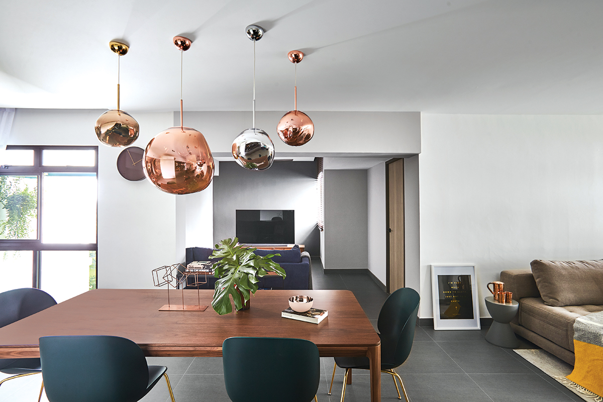squarerooms bowerman interior planner design home renovation makeover 5 room resale hdb flat contemporary look dining living room open space wood table modern pendant lights rose gold