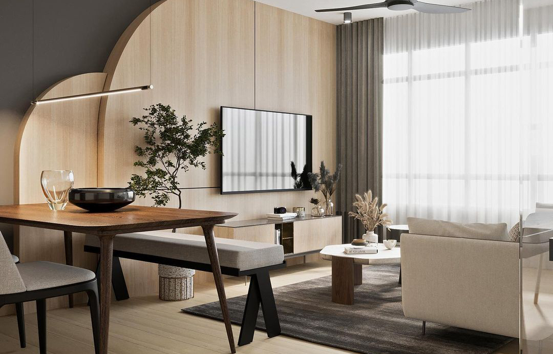 squarerooms arche interior design home renovation makeover style look rounded curved arched feature wall wood tv living room