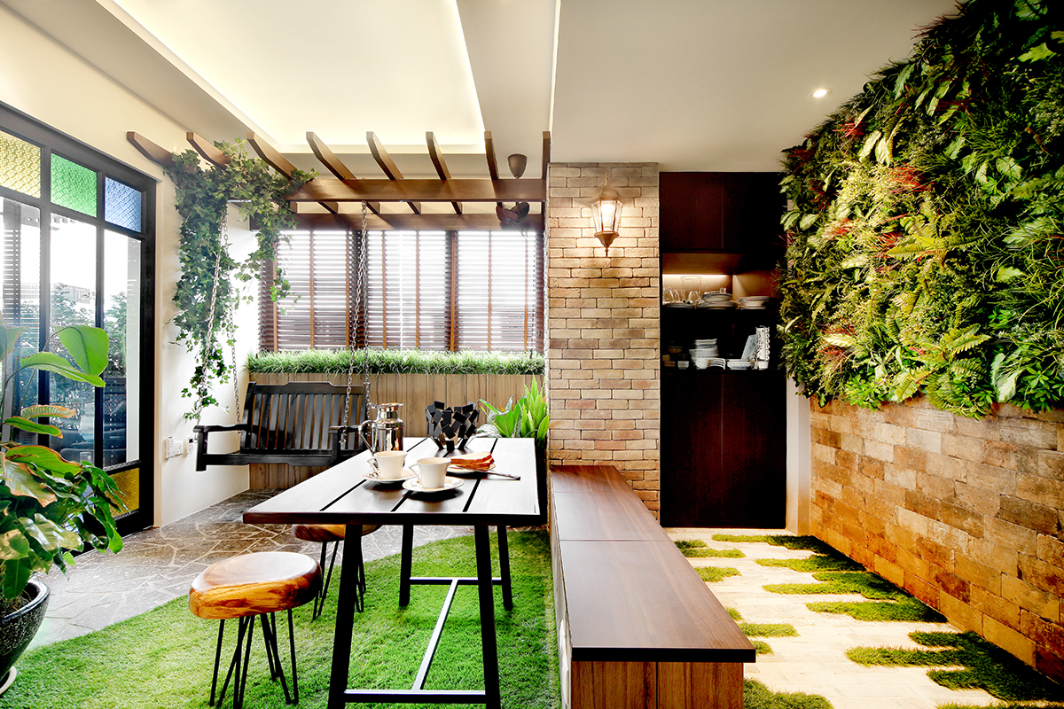 squarerooms Brim Design balcony outside entrance dining bench wood garden plants green wall