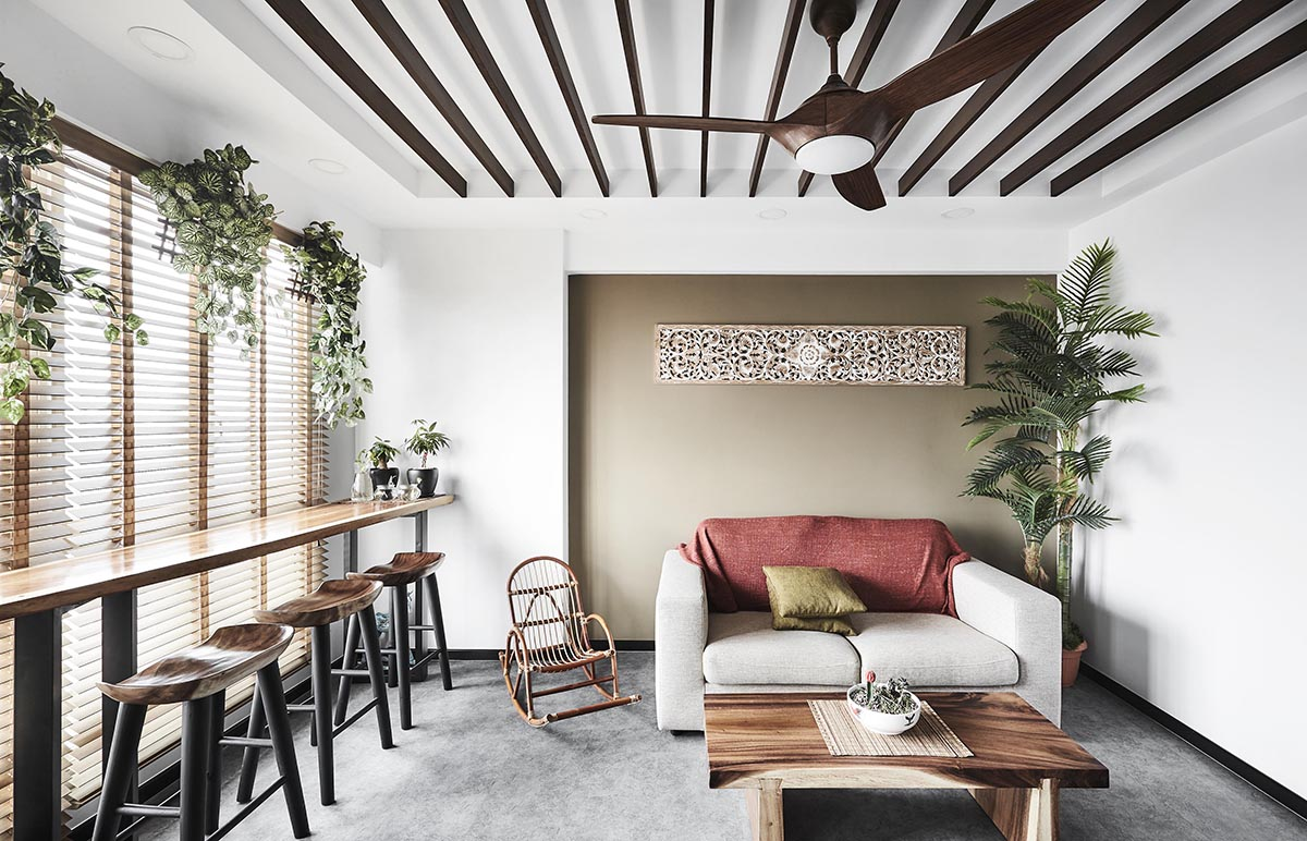 squarerooms Design Zage living room white couch red pink blanket wood beams ceiling grey floor minimalist contemporary