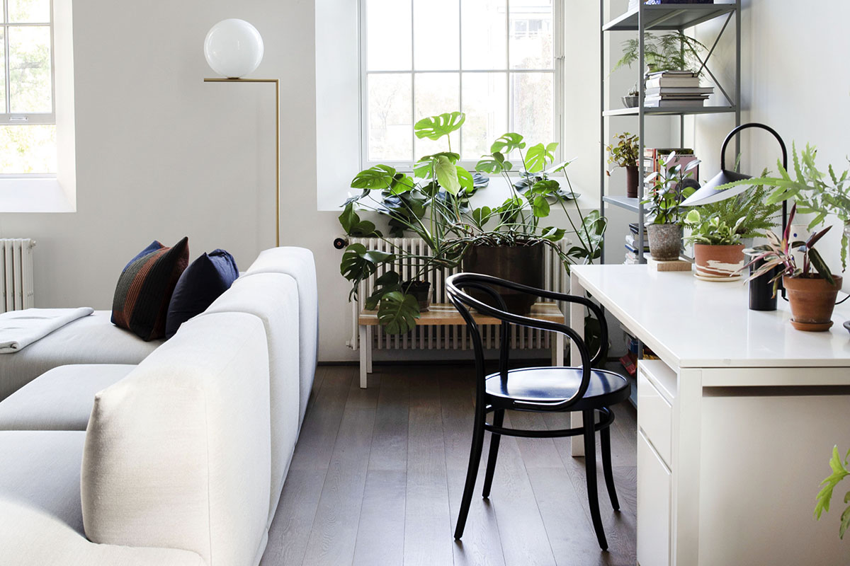 squarerooms Ferm Living office home study desk white modern contemporary apartment flat living room window plants indoor garden