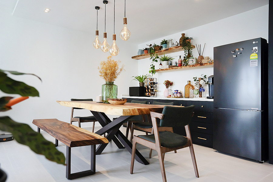 squarerooms Monoloft kitchen wood table black fridge modern contemporary rustic design plants