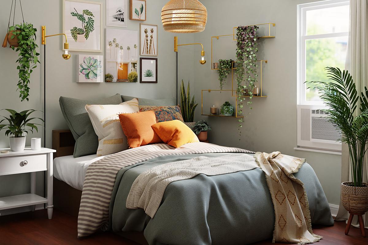squarerooms Spacejoy Unsplash bedroom blue grey cosy orange pillows sheets white natural light rattan ceiling pendant lamp