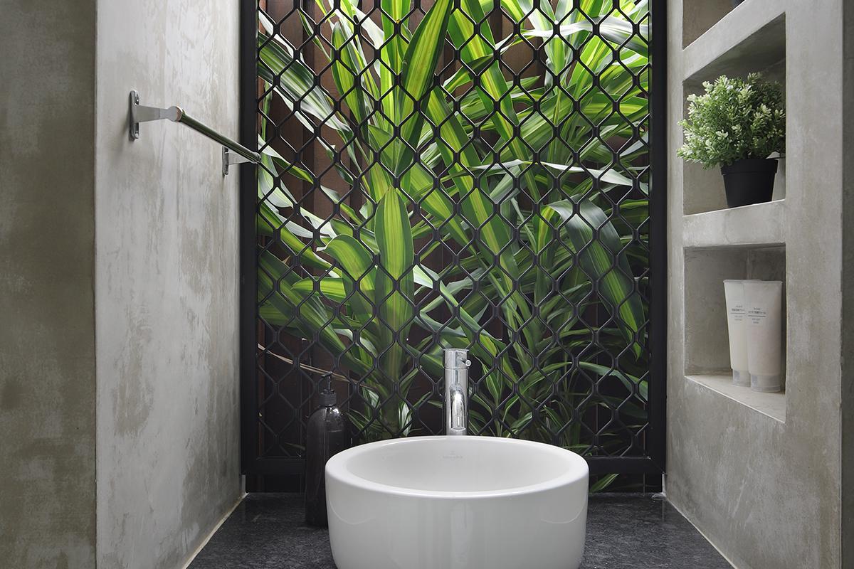 squarerooms The Design Abode bathroom vanity sink countertop white grey urban modern jungle plants garden window green