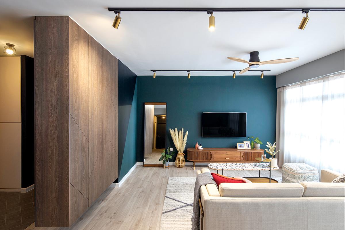 squarerooms versaform contemporary home renovation makeover design interior 5 room hdb bto flat blue feature wall living room