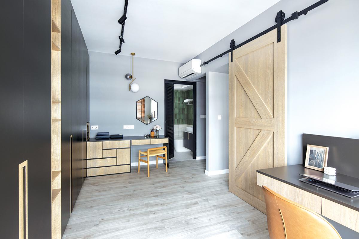 squarerooms versaform contemporary home renovation makeover design interior 5 room hdb bto flat office study barn door wood