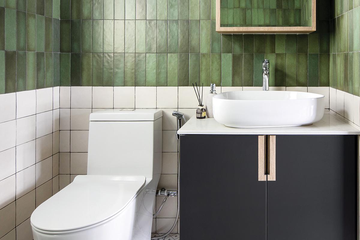 squarerooms versaform contemporary home renovation makeover design interior 5 room hdb bto flat green bathroom toilet tiles white black vanity sink cabinet