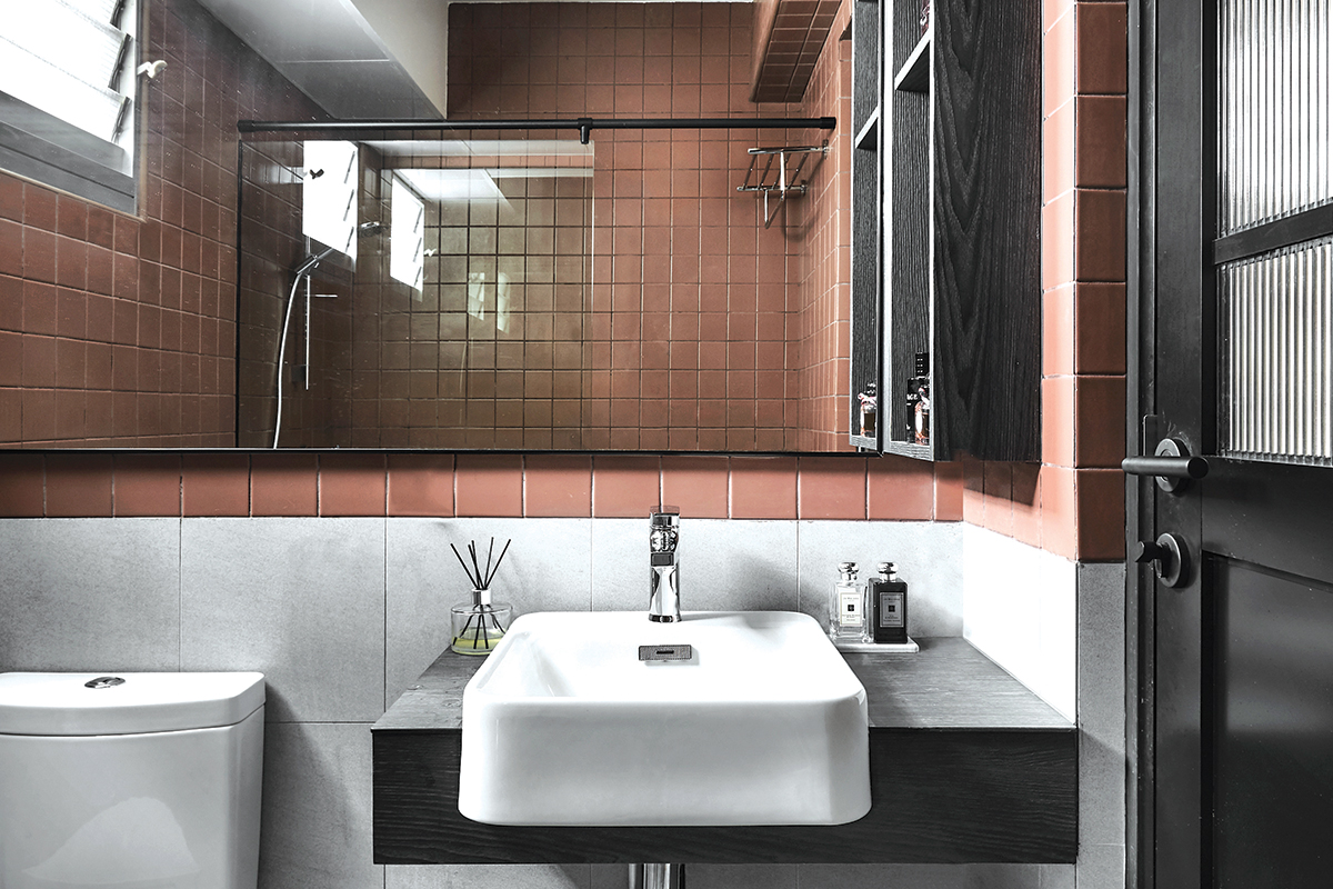 squarerooms blend by imc home hdb flat 5 room redesign renovation makeover style look modern black and white bathroom red tiles terracotta