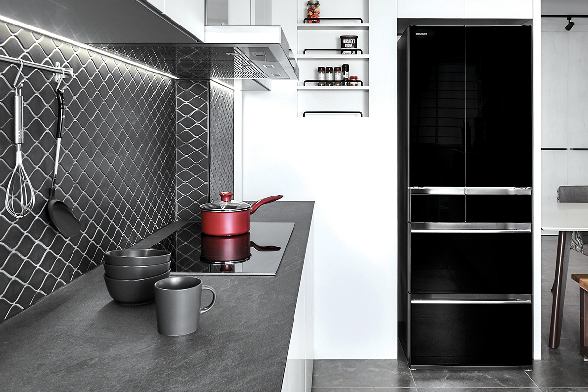squarerooms blend by imc home hdb flat 5 room redesign renovation makeover style look modern black and white kitchen counter backsplash tiles