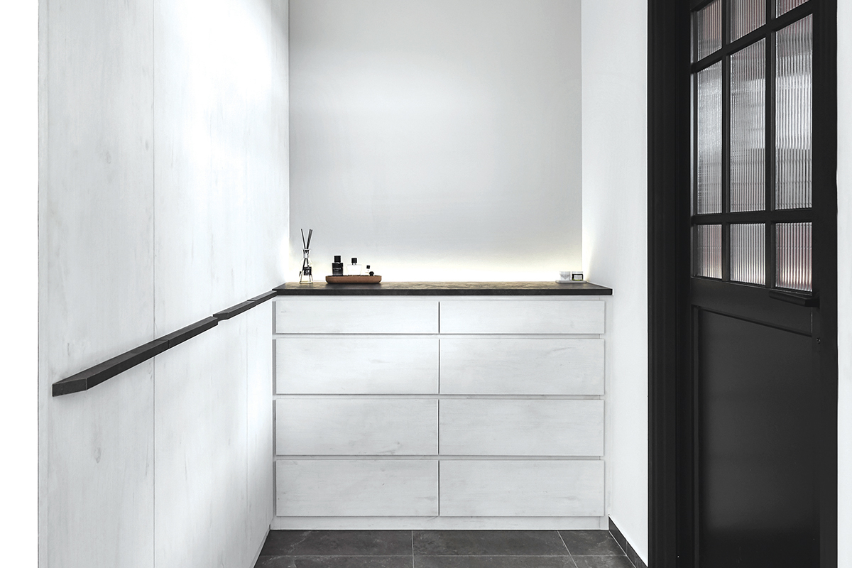 squarerooms blend by imc home hdb flat 5 room redesign renovation makeover style look modern black and white cabinet drawers door